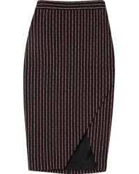 Altuzarra - Wilcox Wrap-effect Pinstriped Cotton-blend Midi Skirt - Lyst