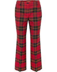 Michael Kors - Cropped Tartan Wool Straight-leg Trousers - Lyst