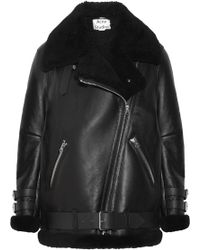 Acne Studios - Velocite Shearling-trimmed Leather Biker Jacket - Lyst