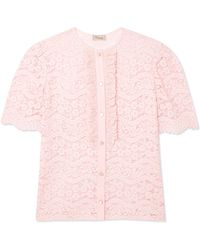 Temperley London - Lunar Ruffled Corded Cotton-blend Lace Top - Lyst