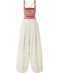 541306a78ecd Ulla Johnson - Razi Embroidered Printed Linen And Cotton-blend Jumpsuit -  Lyst