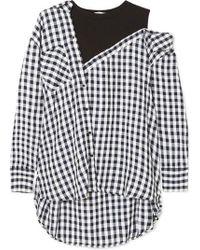 Maje - Mehrlagige Bluse Aus Crêpe Mit Gingham-karo Und Jersey Aus Einer Baumwollmischung - Lyst