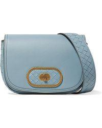3714718b772b Bottega Veneta Luna Small Intrecciato Leather Shoulder Bag in Black ...
