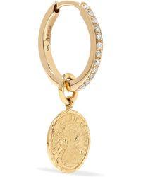 Anissa Kermiche - Louise D'or Coin 18-karat Gold Diamond Hoop Earring - Lyst