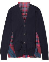 Sacai - Cotton And Pleated Checked Satin Cardigan - Lyst