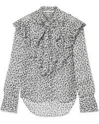 Veronica Beard - Finley Pussy-bow Floral-print Silk-chiffon Blouse - Lyst