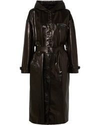 Prada - Hooded Patent-leather Trench Coat - Lyst