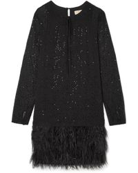 MICHAEL Michael Kors - Crystal And Feather-embellished Chiffon Mini Dress - Lyst