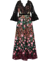 Notte by Marchesa - Corded Lace And Embroidered Tulle Gown - Lyst