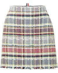 Thom Browne - Frayed Cotton-blend Tweed Mini Skirt - Lyst