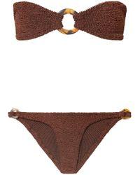 Hunza G - Gloria Embellished Seersucker Bandeau Bikini - Lyst