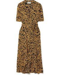Ganni - Floral-print Crepe De Chine Wrap Dress - Lyst