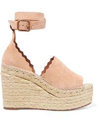 4d6f414b18c0 Lyst - Chloé Lauren Scalloped Suede Espadrille Wedge Sandals in Orange