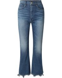 3x1 - W5 Empire Crop Distressed Cropped High-rise Bootcut Jeans - Lyst