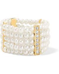 Anissa Kermiche - 14-karat Gold, Diamond And Pearl Ring - Lyst