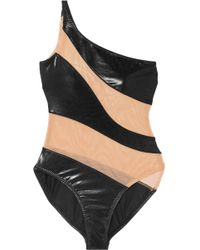 Norma Kamali - Mio One-shoulder Mesh-paneled Swimsuit - Lyst