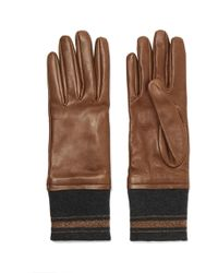 Brunello Cucinelli - Leather And Cashmere Gloves - Lyst