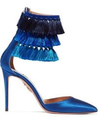 Aquazzura - + Claudia Schiffer Loulou's Tasseled Satin Pumps - Lyst