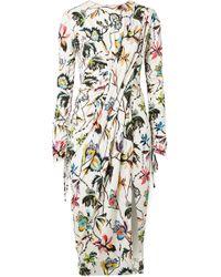 Jason Wu - Gathered Floral-print Stretch-jersey Dress - Lyst