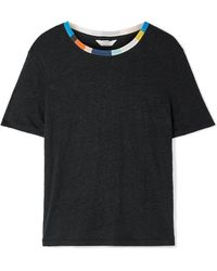 Splendid - + Margherita Ciao Bella Ribbed Knit-trimmed Linen T-shirt - Lyst