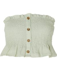 Faithfull The Brand - Sloane Cropped Smocked Linen Top - Lyst