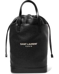 9af1c9d9d91 Saint Laurent Shopper Large Textured-leather Tote in Purple - Save ...
