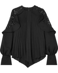 Self-Portrait - Pleated Crepe De Chine And Lace Blouse - Lyst