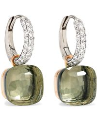 Pomellato - Nudo 18-karat White Gold, Prasiolite And Diamond Earrings - Lyst