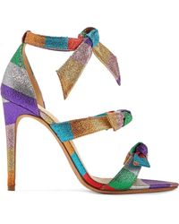 Alexandre Birman - Lolita Bow-embellished Striped Lamé Sandals - Lyst