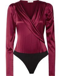 Caroline Constas - Berdine Wrap-effect Stretch-silk Satin Thong Bodysuit - Lyst