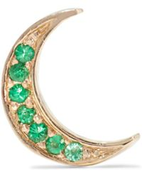 Andrea Fohrman - Mini Crescent 14-karat Gold Emerald Earring - Lyst