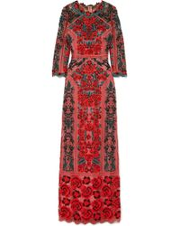 Marchesa notte - Embroidered Guipure Lace And Tulle Gown Red Us16 - Lyst