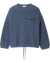 Brunello Cucinelli | Embellished Ribbed Cotton Jumper | Lyst