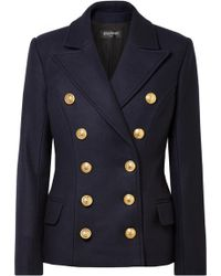Balmain - Double Breasted Wool & Cashmere Coat - Lyst