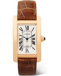 Cartier - Tank Américaine 22.6mm Medium 18-karat Pink Gold And Alligator Watch - Lyst