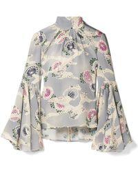 Co. - Floral-print Silk Crepe De Chine Top - Lyst