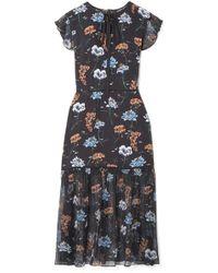 Markus Lupfer - Belle Floral-print Silk Crepe De Chine And Chiffon Midi Dress - Lyst