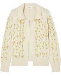 The Great - The Rose Bud Embroidered Cotton-blend Cardigan - Lyst