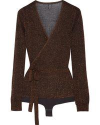 Tuxe Bodywear | The Game Changer Wrap-effect Glittered Stretch-knit Bodysuit | Lyst