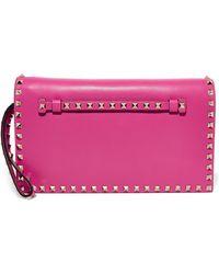 Valentino - Garavani The Rockstud Leather Clutch - Lyst