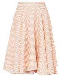 Miguelina Jackie Asymmetric Gingham Linen Midi Skirt