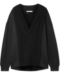 T By Alexander Wang - Oversized Cable-knit Panelled Cotton-blend Jumper - Lyst