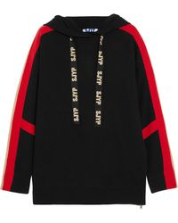 SJYP - Hooded Striped Knit Jumper - Lyst