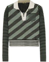 Fendi - Cropped Striped Silk-blend Sweater - Lyst