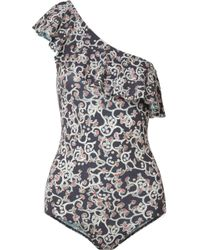 Étoile Isabel Marant - Sicilya One-shoulder Cutout Printed Stretch-jersey Bodysuit - Lyst