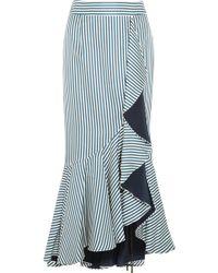 Hellessy - Daffodil Ruffled Striped Silk-satin Twill Maxi Skirt - Lyst