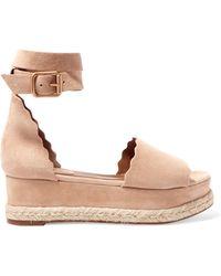 Chloé - Lauren Suede Espadrille Platform Sandals - Lyst