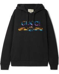 95a14078cad Gucci - Sequin-embellished Cotton-jersey Hoodie - Lyst