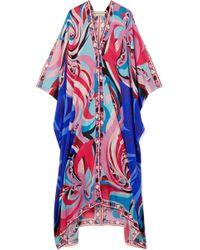 Emilio Pucci - Parrots Printed Cotton And Silk-blend Voile Kaftan - Lyst