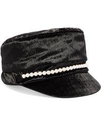 Eugenia Kim - Elyse Faux Pearl-embellished Velvet Cap - Lyst